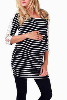 0a3ec80281 Black White Striped Lace Sleeve Maternity Top