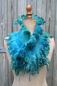 Nunofelted scarf - hand-dyed Wensleydale curly wool locks - handmade Faux Fur. €79.00, via Etsy.