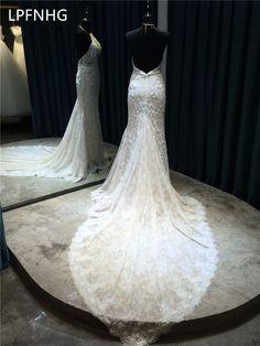 Sexy Mermaid Wedding Dresses 2018 Halter Sleeveless Backless C Train  Applique Sashes Lace Bridal Dresses Vestido De Noiva d3913a99ae0a