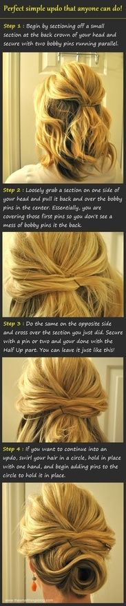easy updo...maybe. My hair might be too long/thick for this one @Liz Mester Rose for prom??