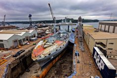 RFA Tidespring drydocked in Falmouth for hull repainting and military equipment fit