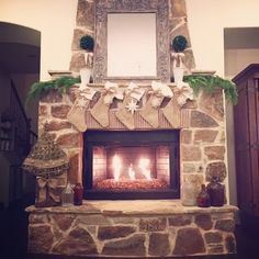Burlap Stockings and Christmas Mantle Boots in City Lights