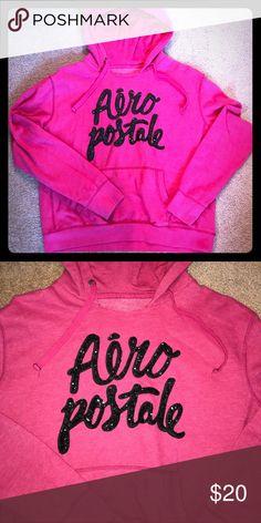 💥SALE💥Aeropostale Hoodie Super Cute Aeropostale Hoodie - Pink with black sequined lettering. Aeropostale Tops Sweatshirts & Hoodies