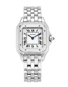 This is a pre-owned Cartier Panthere W25033P5. It has a 21.5mm Steel case, a Silver Roman Numeral dial, a Steel bracelet, and is powered by a Quartz movement.