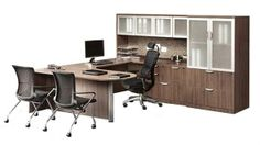 Love the color-modern walnut. Lee and Rachele big fans of the contemporary wood veneer. Would match grey/wood laminate cubicles Lee just rec'd a quote on. Home Office Design, Interior Design Living Room, Office Designs, Office Table, Office Decor, Office Ideas, Executive Office Furniture, Counter Design, Desk Hutch