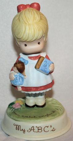 1986 MY ABC's Girl AVON Figurine by Joan Walsh Anglund - h/painted cute adorable