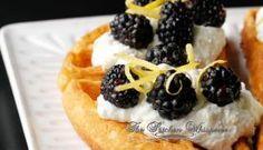 Belgian Waffles with Whipped Lemon Ricotta and Blackberries