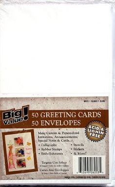 "Amazon.com: 50 Blank Greeting Cards & Envelopes 4x5"" ~White: Health & Personal Care"