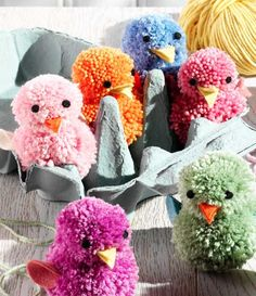 Pompom chicks are just the cutest Easter decorations ever. Follow the link to find out how to make them with your kids...
