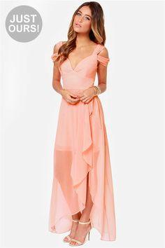 fave BM dress so far, just wish it wasn't online! -- LULUS Exclusive Candied Petals Peach Maxi Dress at LuLus.com!
