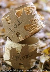 Recycled Paper tube Napkin rings and place cards.