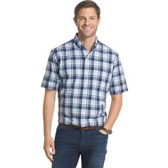 Men's Arrow Classic-Fit Plaid Button-Down Shirt, Size: Medium, Light Blue