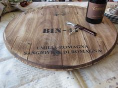 wine barrel lazy susan. LOVE!