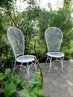pair of vintage wire chairs