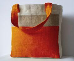 Monogram Orange Burlap Market Tote -Custom Burlap Shopping Bags -Internal pouches, zipper pocket Tote -Cream Orange Shopper Tote -Beach Tote