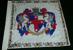 The populace arms of the Kingdom of Lochac. 120cms by 116cms. Bordering inspires by the Hastings Hours 1480's. Hand painted silk by Elizabet Hunter, Lochac