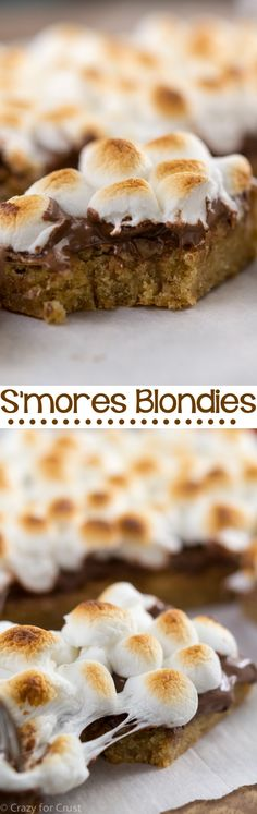 S'more Blondie Bar Recipe - blondie bars topped with Nutella and toasted marshmallows! The BEST indoor s'mores!