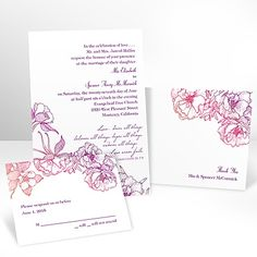 Sketched Flowers - Pink and Orange - Invitation with Free Response Card from Ann's Bridal Bargains