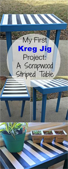 My First Kreg Jig Project: An Easy Scrap Wood Striped Table
