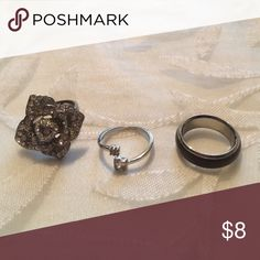 Ring Bundle Open to all offers! In wonderful condition. Perfect for everyday wear! 3rd ring is a mood ring! All about a size 6-7 in ring size. Forever 21 Jewelry Rings