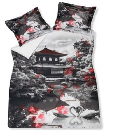 van dyck Japan dekbedovertrek vndck katoen zwanen anthracite, rood zwart, panel design, japanse tuin en huis, slaapkenner theo bot