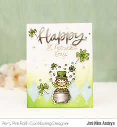 Hello everyone, Joni here sharing a sneak peek of the new upcoming March release. For this project I used the new Best of Luck stamp set and Best of Luck coordinating dies. Pretty Pink Posh, Happy Words, Paddys Day, Card Tutorials, Good Luck, Ink Pads, Hello Everyone, St Patricks Day, Happy Easter