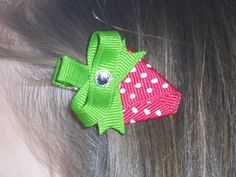 strawberry ribbon hair clip for strawberry shortcake party