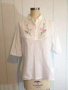 Vintage Shirt with Floral Embroidery by SallyMarieVintage on Etsy