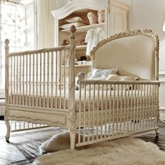 Dolce Notte Crib in Antique White from PoshTots.  Love this if I had a baby girl!!