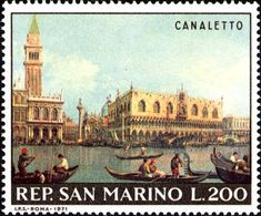 'View of the San Marco Basin on the Molo' - Canaletto Republic Of San Marino, Stamp Auctions, Postage Stamp Collection, Cat Clock, Number Stamps, Seasonal Image, Interesting Buildings, Stamp Collecting, Postage Stamps