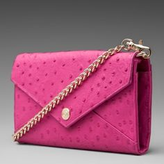 Rebecca Minkoff Pink Ostrich Wallet on Chain So cute and perfect for summer! Excellent used condition. Plenty of storage inside. No trades!! 05916300pcf Rebecca Minkoff Bags Shoulder Bags