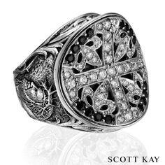b3f2f139a Scott Kay Men's Unkaged OVERSIZED Faith Ring with diamond and black sapphire  center, weight of diamonds