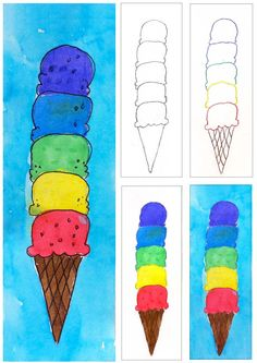 Ice Cream Cone Watercolor Painting - Art Projects for Kids - [Ice Cream Cone Watercolor Painting - A Kindergarten Art Projects, School Art Projects, Projects For Kids, Art School, School Ideas, Ice Cream Crafts, Ice Cream Art, Ice Crafts, Zantangle Art