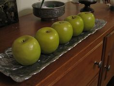Apples on a pewter tray