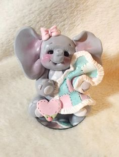 baby shower cake topper elephant Christmas ornament  by clayqts, $25.95