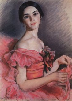 Zinaida Yevgenyevna Serebriakova Ukrainian, 1884-1967) Portrait of Yekaterina Heidenreich in Red, 1923