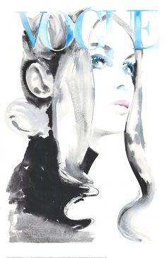 Original Watercolor Fashion Illustration, Jean Shrimpton, Watercolor Fashion Illustration 1969 Vogue by Cate Parr