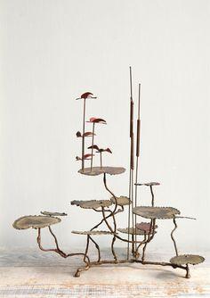 Vintage Brass Cattail Sculpture /  C. Jere era