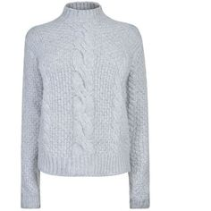 Gestuz Sanni Pullover (£150) ❤ liked on Polyvore featuring tops, sweaters, mid grey mel, grey cable knit sweater, cable sweater, cable-knit sweater, chunky wool sweater and cable knit pullover sweater