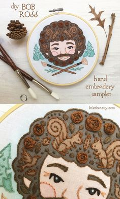 Let Bob help you find peace and self love with this fun and relaxing hand embroidery sampler from little dear. You'll love stitching up this unique and whimsical portrait, complete with happy little trees. #bobross #handembroidery #embroideryart #bobrossart Sewing Hacks, Sewing Tutorials, Sewing Projects, Embroidery Sampler, Embroidery Art, Bob Ross Art, Happy Little Trees, Nature Crafts, Craft Patterns