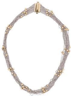 14K white gold sparkle multi-chain necklace with 14K yellow gold beads and slide lock closure.