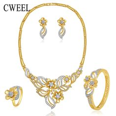 CWEEL Flower Necklace Earrings Bracelet Ring Set Fashion Jewelry Sets For Women Wedding Gold Color Imitated Crystal Accessories