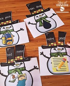 Compound words game with snowman hats. So cute and fun for kids!