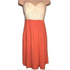 "THML Sz S strapless knitted padded bust dress Size small length 30 1/2""  strapless knitted sweetheart padded top orange dress bust 32-34  New without tags THML Dresses Strapless"