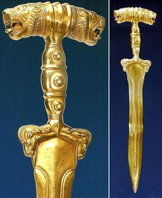 A beautifully detailed Persian akinakes (dagger), ca. BCE, crafted during the reign of the Achaemenid Empire (Image: (c) Dr. Manouchehr Moshtagh Khorasani) Courtesy of my colleague, Dr. Historical Artifacts, Ancient Artifacts, Persian Tattoo, Persian Warrior, King Of Persia, Achaemenid, Ancient Persian, Persian Culture, Gold Art