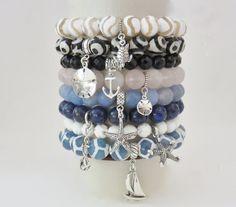 Gemstone Stack Beaded Bracelets, charm bracelets, sterling silver, blue, pink, black, anchor, starfish, sailboat, black, turtle, sand dollar