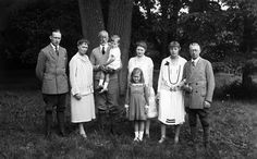 The family of Prince Henry (Heinrich) of Prussia (younger brother of Kaiser Wilhelm II) at Hemmelmark in 1927: Prince Sigismund, Princess Irene, Prince Heinrich holding Sigismund's son Prince Alfred of Prussia; Alfred's sister Princess Barbara in front of their mother, Princess Charlotte Agnes; Princess Calixta and her husband Prince Waldemar