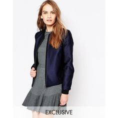 Helene Berman Navy Textured Bomber Jacket (490 BRL) ❤ liked on Polyvore featuring outerwear, jackets, navy, flight jacket, blouson jacket, navy flight jacket, zipper jacket and blue zipper jacket