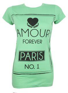 New Look Womens Tshirt ,Amour Love Paris Green Tshirt Sizes 8,10,12,14, £3.99