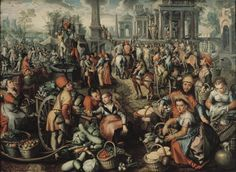 Joachim Beuckelaer, or Bueckelaer — Market Scene: Ecce Homo, the Flagellation and the Carrying of the Cross, 1561 : Nationalmuseum, Stockholm. Flagellation, Cross Art, Dutch Painters, Framed Canvas Prints, Canvas Paper, Old Master, Art Reproductions, Scene, Original Artwork